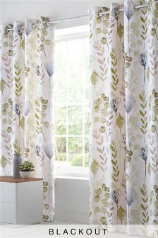 Cotton Sateen Botanical Blackout Lined Eyelet Curtains
