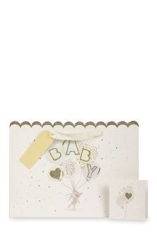 Baby Gift Bag, Card And Tissue Set