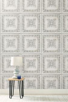 Paste The Wall White Tin Tiles Wallpaper
