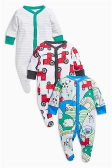 Tractor Print Sleepsuits Three Pack (0mths-2yrs)