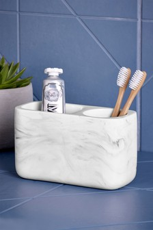Marble Effect Toothbrush Tidy
