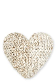 Textured Knitted Heart Cushion