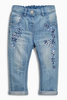 Floral Embellished Jeans (3mths-6yrs)