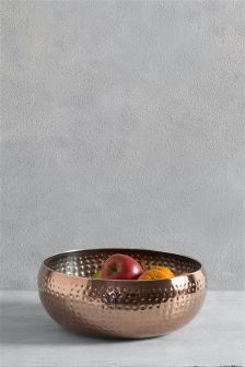 Copper Effect Hammered Fruit Bowl