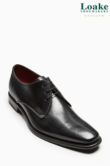 Loake Black Bressler Plain Derby Shoe