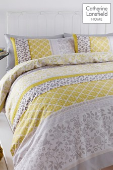 Catherine Lansfield Yellow Oriental Birds Duvet Set