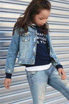 Куртка в стиле вестерн с рваной отделкой (3-16 лет)