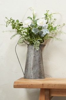 Cream Floral Mix In Galvanised Jug