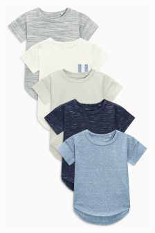 Textured Copenhagen Short Sleeve T-Shirt Five Pack (3mths-6yrs)