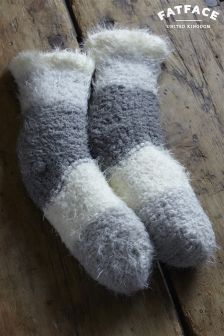 Fat Face Grey/White Stripe Bed Socks