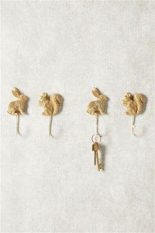 Set Of 4 Gold Animal Hooks