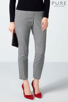 Pure Collection Black Dogtooth Tailored Ankle Length Trouser