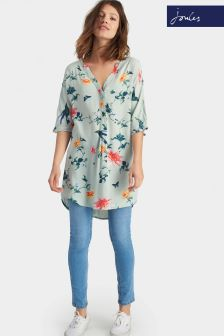 Joules Carys Grey Floral Relaxed Pull Over Tunic