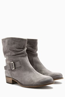 Suede Buckle Slouch Boots
