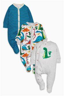 恐龙图案连体睡衣三件套装 (0个月-2岁)