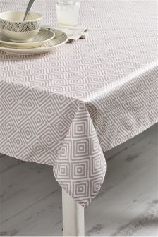 Natural Geo Wipe Clean PVC Tablecloth