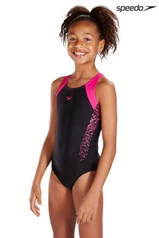 Speedo® Black/Pink Boom Splice Muscleback Swimsuit