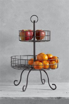Two Charcoal Grey Tier Wire Fruit Bowl