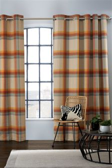 Ashworth Woven Check Eyelet Lined Curtains