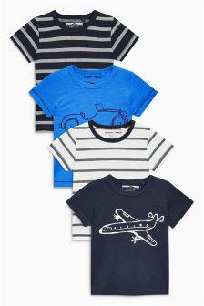 Cztery koszulki z krótkim rękawem i motywem transportu (3m-cy-6lat)