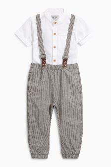 Linen Blend Shirt And Stripe Trousers (3mths-6yrs)