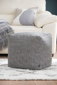 Small Dark Grey Boucle Weave Cube