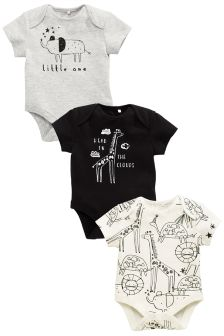 Zoo Short Sleeve Bodysuit Three Pack (0mths-2yrs)