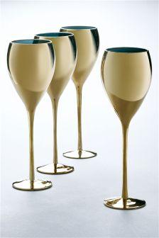 Set Of 4 Metallic Wine Glasses
