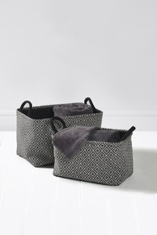 Set Of 2 Geo Print Baskets