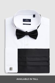 Wing Collared Shirt With Bow Tie, Cummerbund And Cufflinks