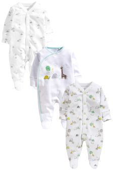 Delicate Animals Sleepsuits Three Pack (0-12mths)