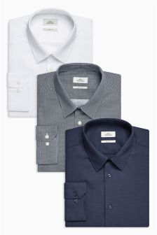 Printed And Textured Slim Fit Shirts Three Pack