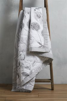 Cotton Sateen Grey Hedgerow Throw