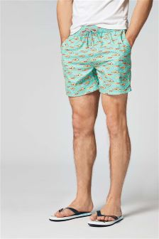 Swimmer Print Swim Shorts