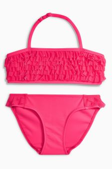 Bikini z siateczkowymi falbankami (3-16 lat)
