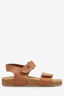 Eleganckie skórzane sandały z korkową podeszwą (Młodsi chłopcy)