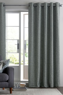 Bouclé Blend Eyelet Lined Curtains