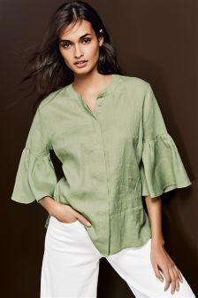 Linen Sleeve Detail Shirt
