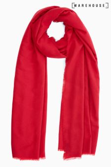 Warehouse Red Midweight Plain Large Wrap Scarf