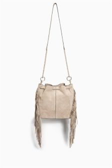 Leather Fringe Duffle Bag