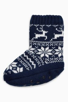 Fairisle Pattern Slipper Boots (Older Boys)