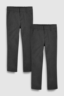 Flat Front Slim Fit Trousers 2 Pack (3-16yrs)