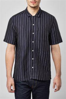 Short Sleeve Stripe Rever Collar Shirt
