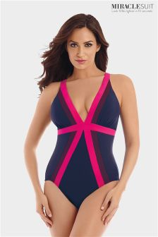 Miraclesuit® Navy/Pink Trilogy Swimsuit