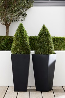 Set Of 2 Charcoal 60cm Lightweight Metal Planters