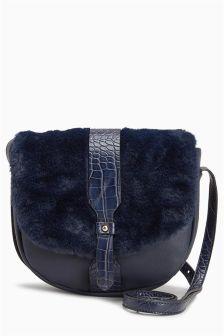 Faux Fur Saddle Bag
