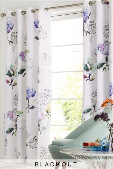 Cotton Sateen Blackout Lined Eyelet Floral Curtains