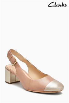 Cielisto-złote buty na obcasie z noskiem Clarks Orabella