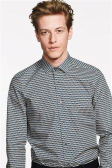 Рубашка узкого кроя с принтом