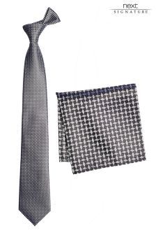 Signature Pattern Tie And Pocket Square